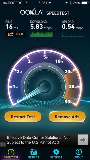 TorontoWifi Speedtest A detailed image for this result can be found here:http://www.speedtest.net/my-result/i/880660382 Test Date: Jun 20, 2014 6:25 PM Download: 5.83 Mbps Upload: 0.54 Mbps Ping: 16 ms Connection Type: Wi-Fi Server: Toronto, ON External IP: 99.231.120.2 Internal IP: 192.168.0.13 Latitude: 43.6777 Longitude: -79.3513 http://maps.google.com/maps?f=q&q=43.677735,-79.351318 Ookla operates Ookla Speedtest using a massive global infrastructure to minimize the impact of Internet congestion and latency. With millions of tests performed every day across thousands of servers, Ookla Speedtest is the de facto standard for primary network testing. Ookla Speedtest uses the same core technology found in the Ookla suite of products which are used by a wide variety of organizations. Learn more at www.ookla.com, and be sure to visit www.netindex.com to explore anonymously aggregated broadband statistics from all over the world.