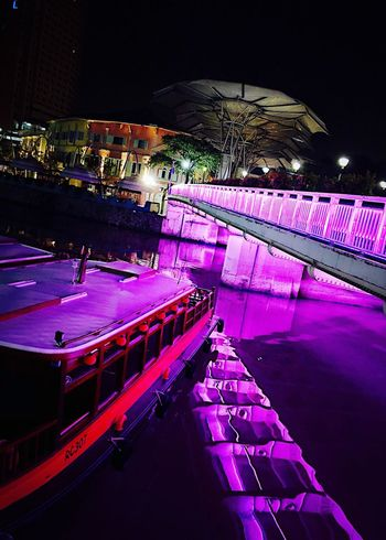 Singapore Clarke Quay Night Illuminated Architecture Built Structure Building Exterior City No People High Angle View Arts Culture And Entertainment Water Outdoors Nature Building Light Lighting Equipment Reflection Nightlife Event Stage