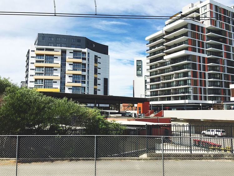 View from Wolli Creek station, platforms 3 & 4 Building Exterior Architecture Built Structure City Transportation Sky Cloud Modern Outdoors