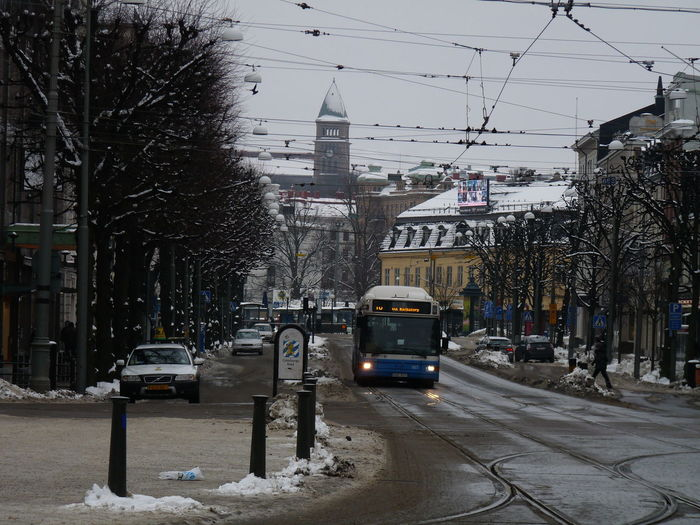 Architecture Bare Tree Built Structure Buss Cable Car City Cold Temperature Day Outdoors Road Snow Transportation Winter