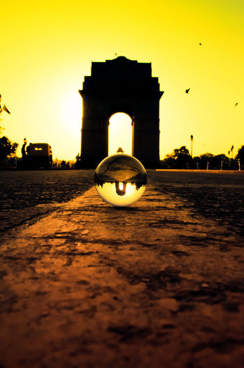 Delhi India Morning Architecture Bird Built Structure Day History Illuminated Indiagate Lensball No People Outdoors Sky Sunset Travel Destinations