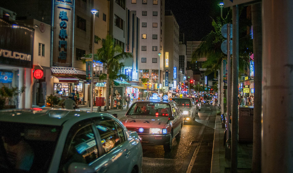 Japan Night Life Architecture Building Exterior Built Structure Car City City Street Land Vehicle Night Nightview No People On Street Outdoors Road Street Streetphotography Transportation Various Colors