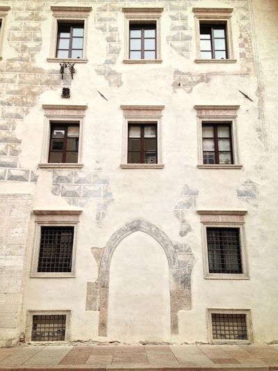 Architecture Window Built Structure Building Exterior Repetition In A Row Façade Outdoors Full Frame Entrance Day Stone Material Weathered Door No Door Entrance Low Angle View Façade Architecture Trentino Alto Adige Trentino  Trento Italy
