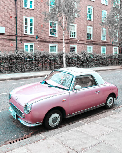 Pink Figaro Figaro Pink Pink Car London City Car Land Vehicle Old-fashioned Street Architecture Building Exterior Built Structure Vintage Car Vintage Retro Retro Styled