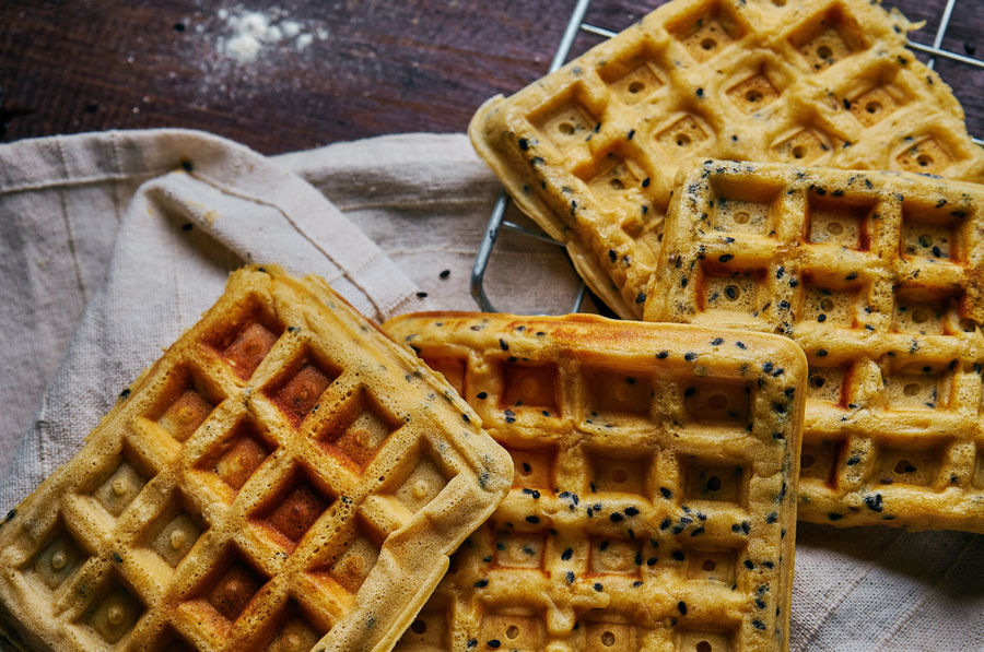 Waffle Baked Pastry Item Bread Close-up Day Food Food And Drink Freshness Indoors  Napkin No People Ready-to-eat SLICE