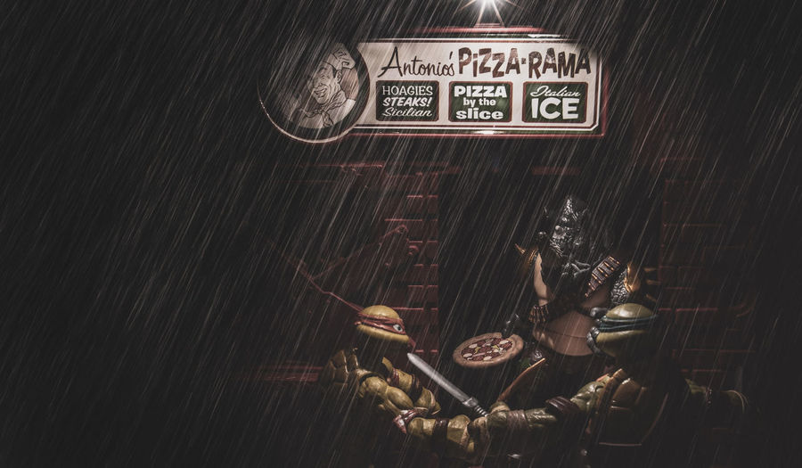 Pizza Fight EyeEm Selects Toy Photography TMNT🐢 Teenage Mutant Ninja Turtles  Toys Cinematic Cinematic Photography CinematicToyPhotography Communication Text Close-up Capital Letter