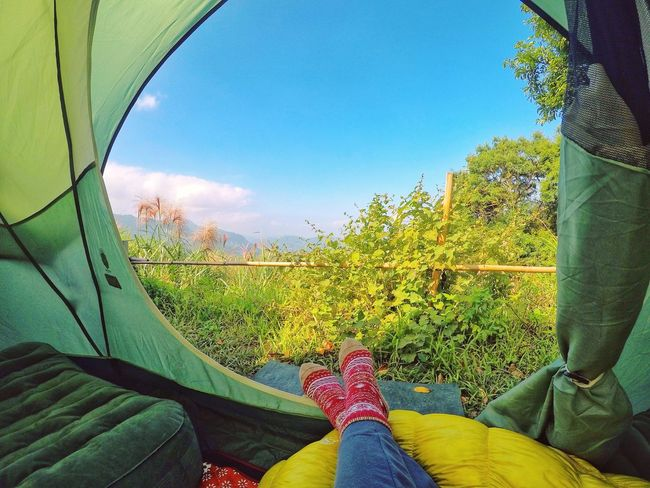 Outdoors Tree Nature Photography Sky Mountain Clouds And Sky Tranquility Women Camping Camping Life Camping Trip Tent Tent View Mountain Range Nature Camping Fun Tent Camping Human Leg Forest