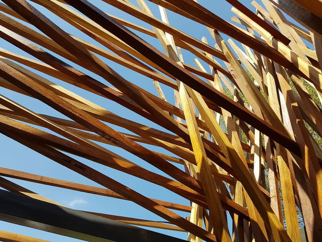 Woods arrangement. Wood Backgrounds Full Frame Pattern Sky Close-up Complexity Tall