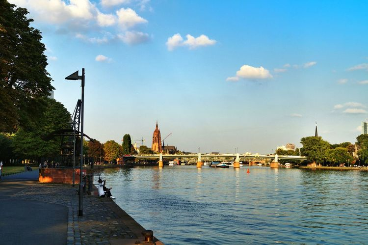' ...sitting On The Dock Of The Bay... ' Postcard Style Heavy Shipping Traffic Bridges Of Frankfurt Riverscape Main River City Life Cityscape Urban Landscape Impressive Church The Dome Of Frankfurt Blue Sky And White Clouds Warm Atmosphere Frankfurt Am Main Germany🇩🇪