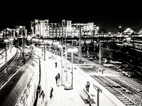 Central Station Hamburg Transportation Architecture Built Structure Central Station Hansestadt Bw_collection BW_photography Bw Night Nightphotography Night Lights Lights Lights And Shadows darkness and light