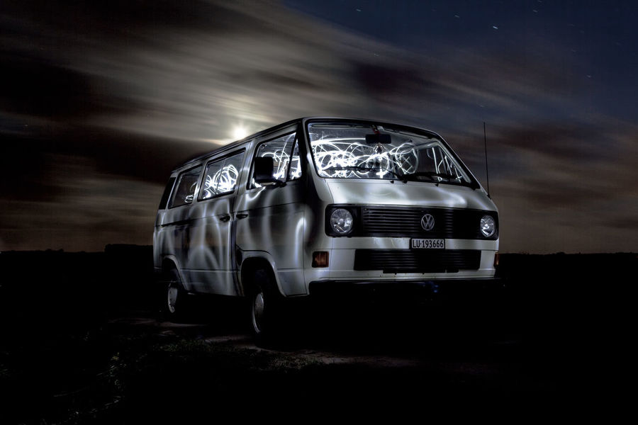 Car Couds And Sky Hippie Van Lighpainting Light Lightpainting Live For The Story Moon Night Night Lights Nightphotography Noontime  Outdoors Sky Van VW Bus