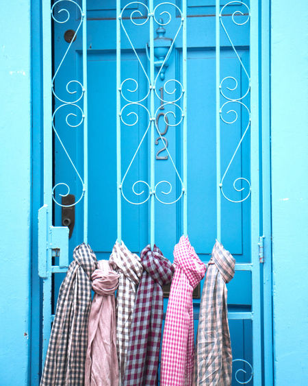Light Blue Blue Background EyeEm Selects Coathanger Hanging Blue Close-up Closed Door Fabric Door Entryway Entrance Entry Front Door