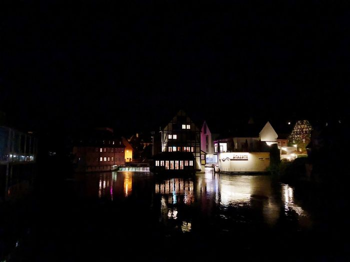 Impressionen aus Bamberg Illuminated Water Night Architecture Reflection Building Exterior Built Structure Sky No People Copy Space Building Waterfront Clear Sky River Nightlife Nature City Dark Outdoors