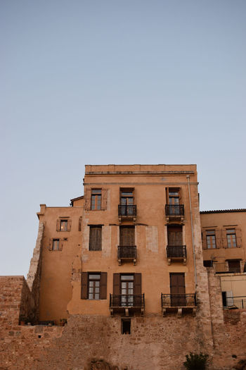 Chania old port architecture Sky Architecture Built Structure Building Exterior Window Clear Sky Low Angle View Nature Building No People Copy Space Day History Outdoors The Past Old Blue Travel Destinations Sunlight Wall Stone Crete Island Italy Sicily