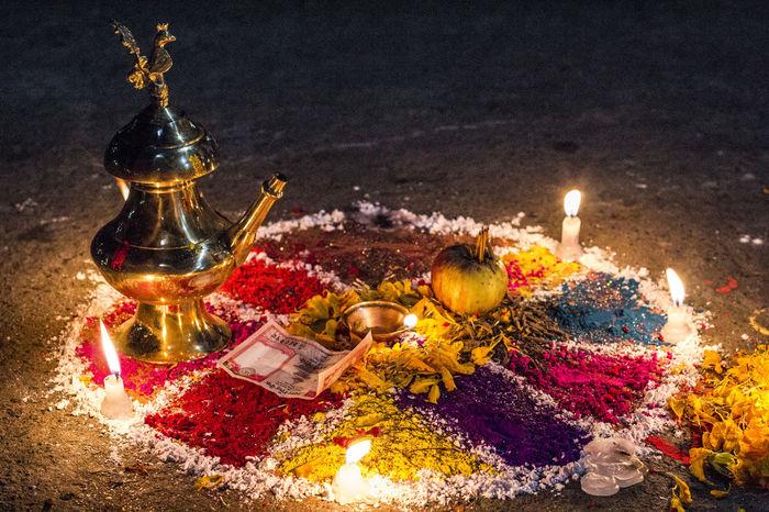 Burning Candle Diya - Oil Lamp Flame Religion Spirituality Tihar Festival Of Light And Colour