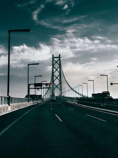 Akashi strait bridge against sky