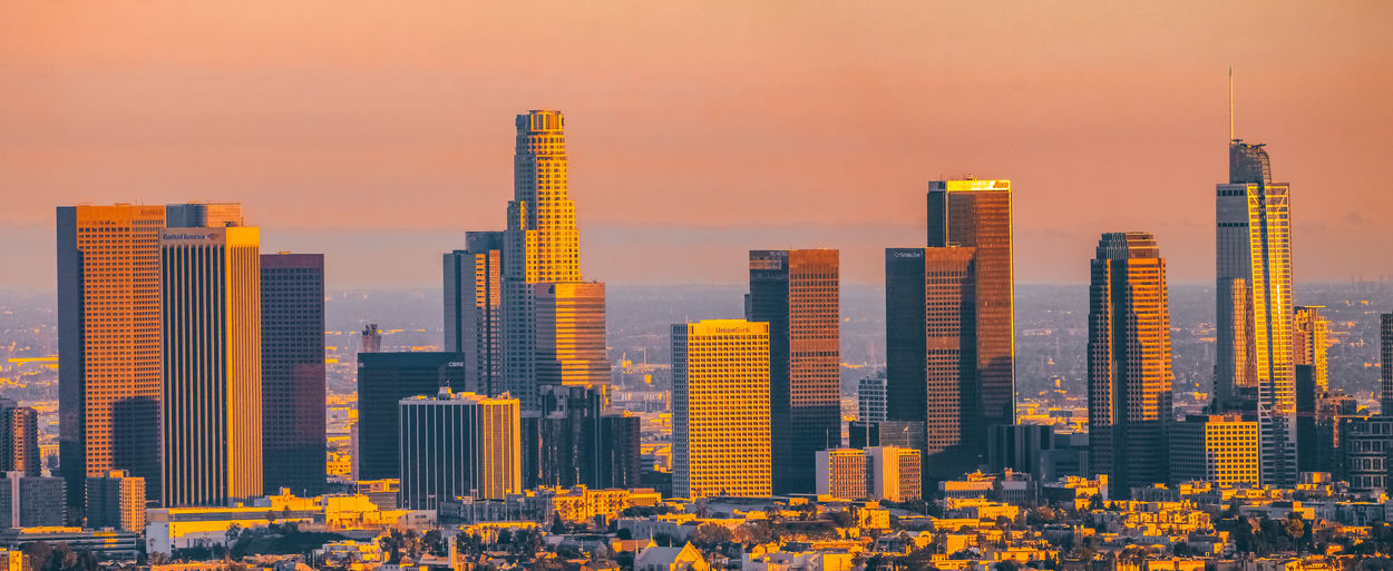 Los Angeles Skyline Panorama City Office Building Exterior Building Exterior Architecture Built Structure Skyscraper Building Modern Urban Skyline Cityscape Landscape Sunset Sky City Life Downtown District Travel Destinations Tall - High No People Travel Nature Outdoors Financial District