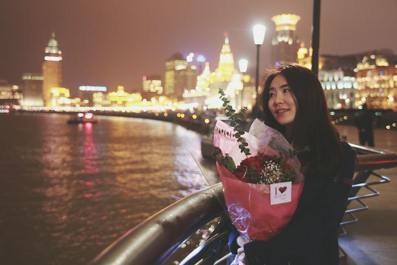 Happy Valentine in Shanghai China Precious Moment Canonphotography Portrait Of A Woman Lovely Lady Valentine's Day  With My Gf From My Point Of View 上海 中国人 Beautiful Night