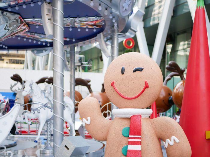 Close-up of gingerbread man at amusement park