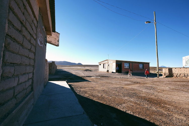 Bolivian Town Desert Town Bolivia Dry Arid Climate Lonely Sunrise Early Morning Architecture Building Exterior