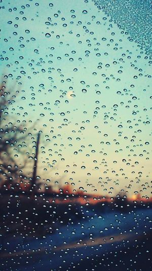 Raindrops Window Moody Weather Rain RainyDays Blue Bluesky Road Raindroplets View Relaxing Brightcolors Beauty Nature Water