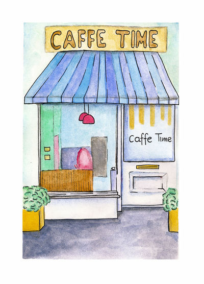 Paint Architecture Art And Craft Box Caffee Capucinoo Close-up Communication Consumerism Creativity Day Indoors  Kaffee No People Painting Painting Art Retail  Text Watercolor Watercolor Painting Western Script