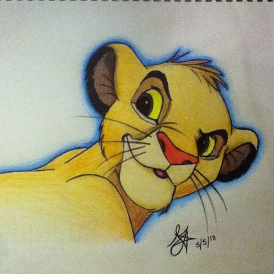 Drawing of Simba from The Lion King. Medium- Ink pen, Sharpies, and colored pencils. ?? Simba Thelionking Disney Drawing art color artwork cute lovethis haha lol instagram itouch camera lion orange yellow cub pink blue