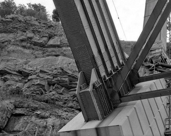 Outdoors Bridge Nature Manmade Engineering TakeoverContrast Black And White 35mm Film Minoltasrt202 Bnw Monochrome Man Made Object Rock Metal Bridge - Man Made Structure Film Film Photography
