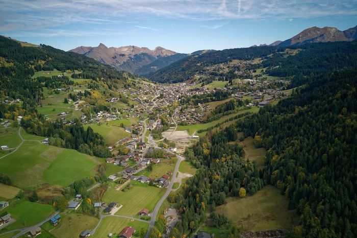 Mavic Pro Automne French Alps Haute-Savoie  Les Gets Agriculture Landscape High Angle View Mountain Field Scenics Rural Scene Mountain Range Tree Beauty In Nature Nature Sky Aerial View Town Green Color