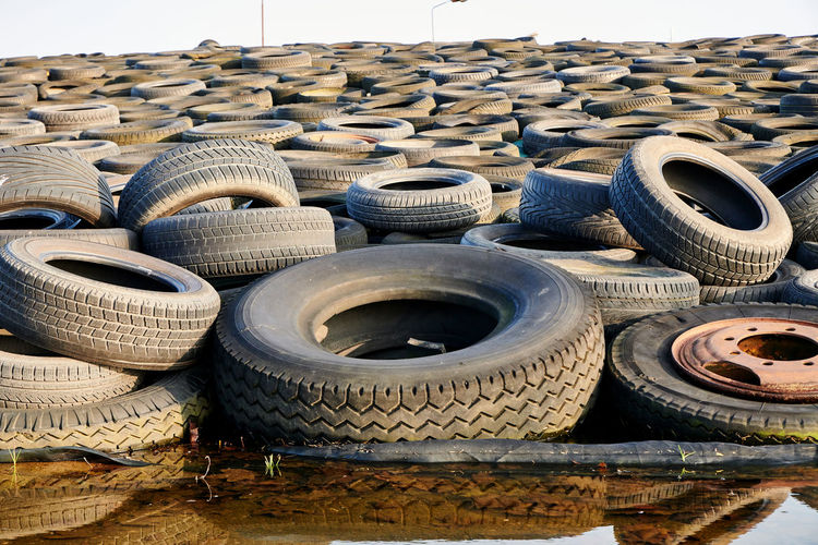 Close-up of rubber tires