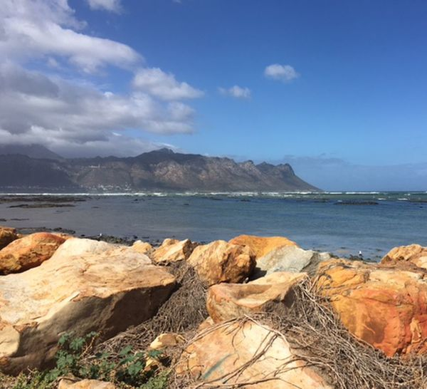Coastal Town east of Cape Town Blue Skye White Clouds Mountain Range Sea And Sky Rocks On The Shore Orange Color Outdoor Photography Daytime As I Sees It No People Outdoors Beauty In Nature Dead Seagrass Green And Blue Sea 🌊 Beautiful Day Through My Eyes
