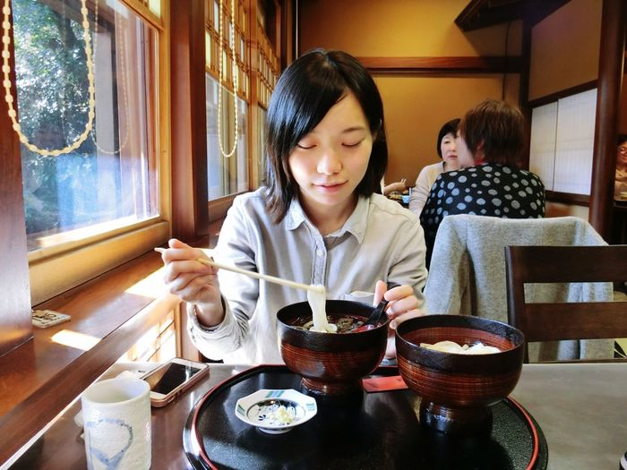 Japan Gunma Ikaho Udon Mizusawa Udon Sitting Real People Food And Drink Restaurant Women Indoors  Eating Adult Delicious Travel Trip
