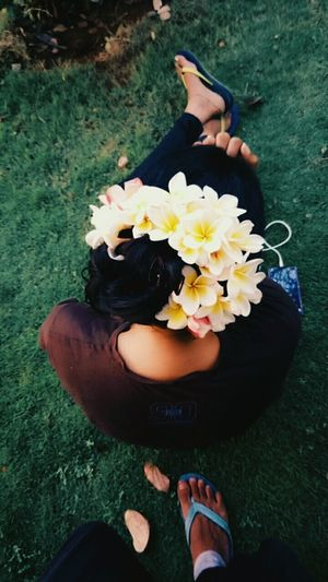Garden over her head...❤ One Person Flower Only Women Human Hand High Angle View Lifestyles Petal Outdoors Day Close-up Roshni ☀