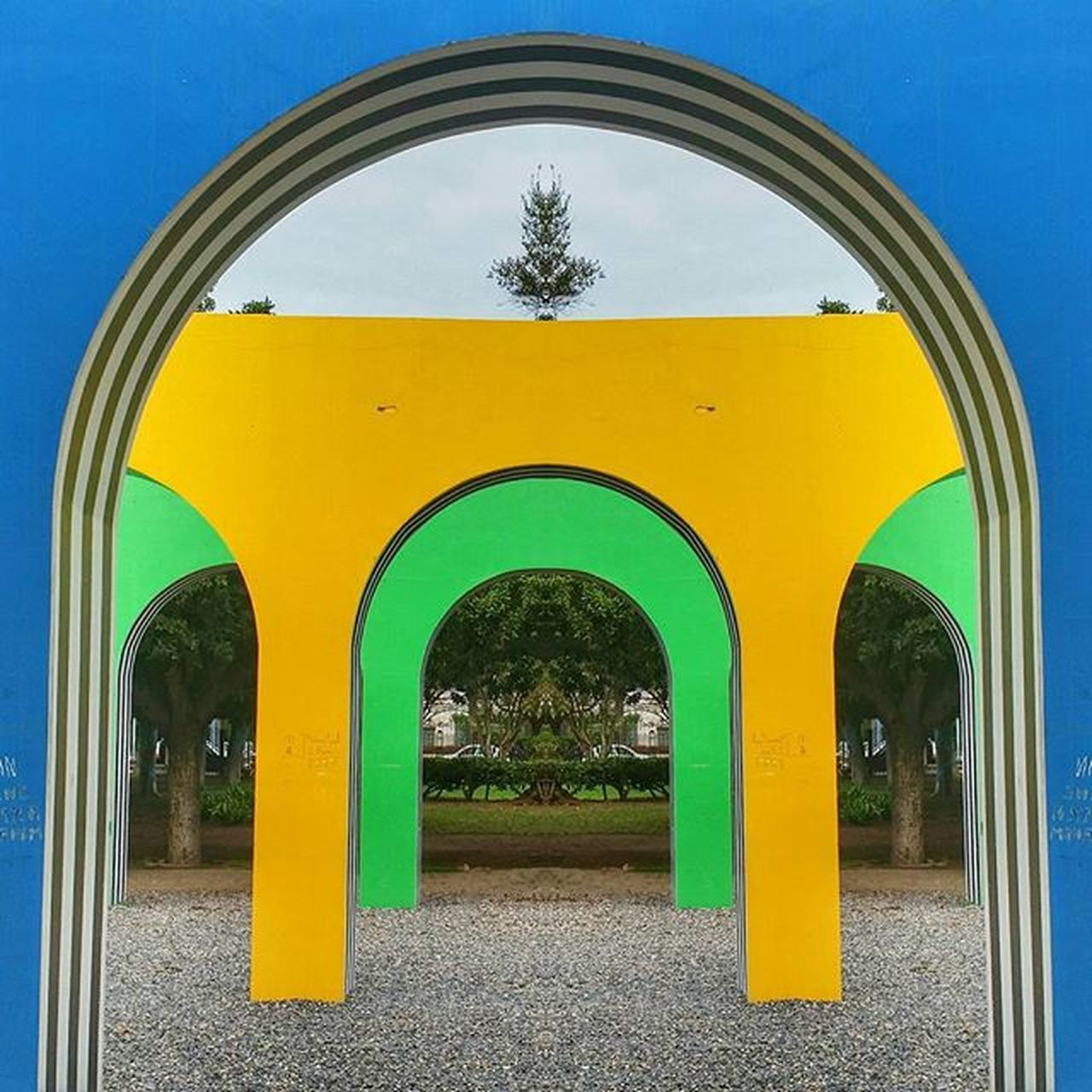 arch, yellow, day, built structure, architecture, tree, no people, outdoors, sky