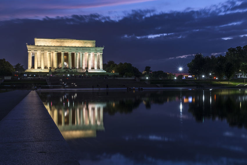 Lincoln Monument Memorial Washington DC Ancient Civilization Architectural Column Architecture Building Exterior Built Structure Cloud - Sky History Illuminated Monument Nature Night No People Outdoors Reflecting Pool Reflection Sky Tourism Travel Travel Destinations Tree Water
