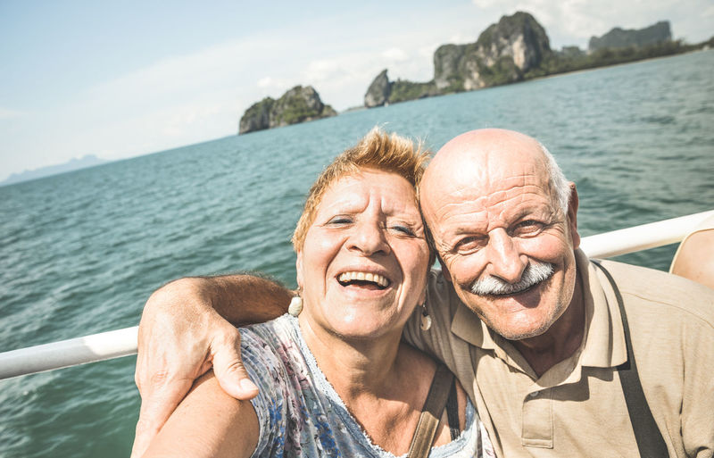 Senior retired couple having fun together - Mature people taking selfie on vacation in Thailand Senior Couple Retired Mature Adult Old Older  Elder Having Fun Fun Love Youthful Lifestyles People Outdoors Pension Active Vacations Travel Selfie Boat Trip Thailand Excursion Happy