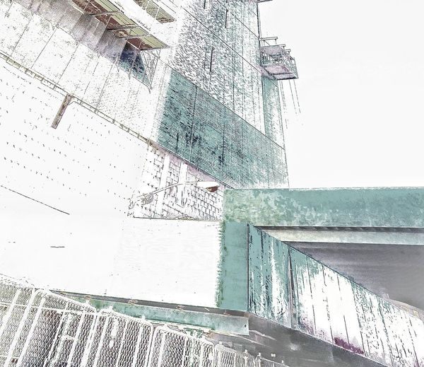 Perspective Architecture Scaffolding Netting Ladders Walkways Pattern Geometric cloud - sky No People Complexity Sky Water Digitally Generated Day Outdoors