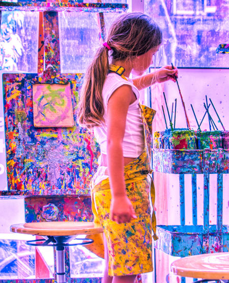 Holi Standing Three Quarter Length Art Studio Fine Art Painting Acrylic Painting Modern Art Palette Paintbrush Artist's Canvas Paint Painter - Artist Paintings Oil Painting