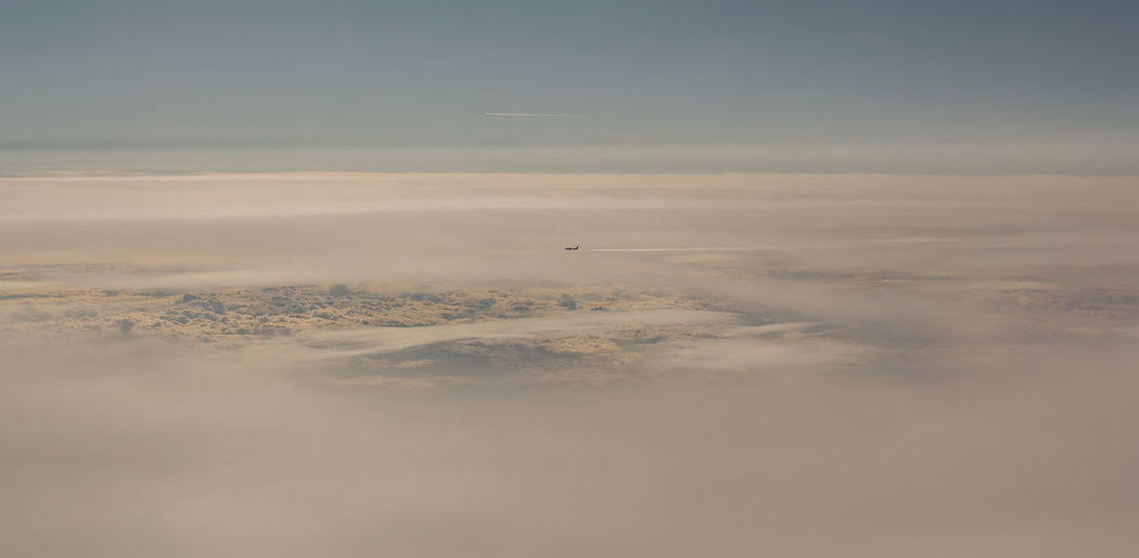 Aerial view of cloud fields above the clouds