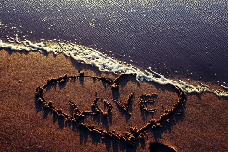 High Angle View Of Love With Heart Shape Written On Sandy Beach