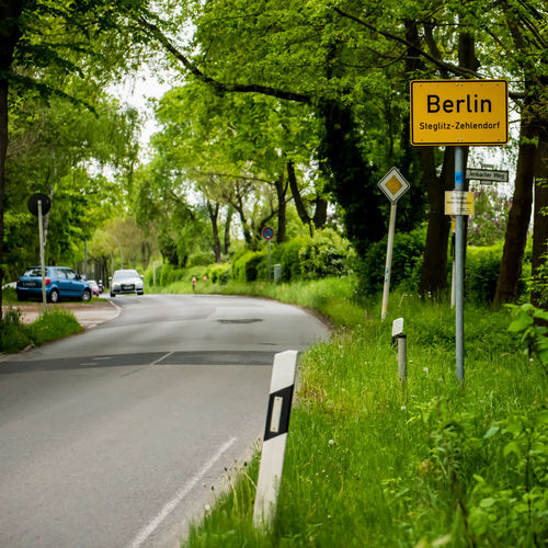 Berlin Berlin City Berlin City Limit Sign Berlin Photography Car Grass Growth Nature No People Outdoors Road Road Sign Steglitz Steglitz-Zehlendorf Street Text Transportation Tree
