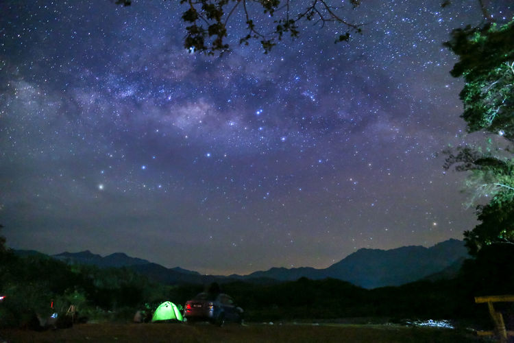 Sky Star - Space Mountain Scenics - Nature Beauty In Nature Night Nature Space Astronomy Galaxy Tranquility Tree Star Tranquil Scene Outdoors Mountain Range Land Cloud - Sky Milky Way Plant No People