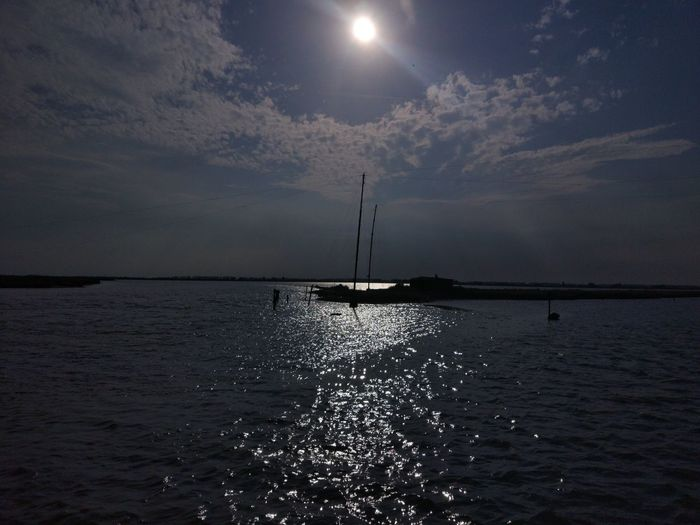Reflection Night Sea Tranquility Moon Nature Silhouette Sky Water Outdoors Beauty In Nature Scenics No People Astronomy
