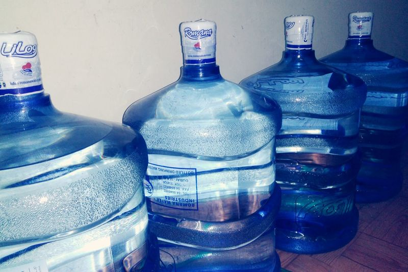 Blue Water Bottles !!!! Drinking Water At Home! Bigbottle Precious ❤ EyeEm Best Shots Art Is Everywhere No People, Eyeemphotography In My Point Of View Eyem Gallery Water Can