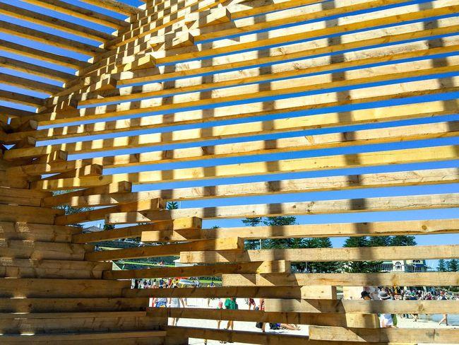 Wooden Sculpture Detail Modern Art Wooden Wooden Sculpture Arts And Entertainment March 12,2016 Cottesloe Beach Western Australia Sculptures Sculptures By The Sea Tourist Attraction  Wood Abstract Abstract Art Closeup 2X4 Pine Pine Wood Slats Arts Festivals ArtWork