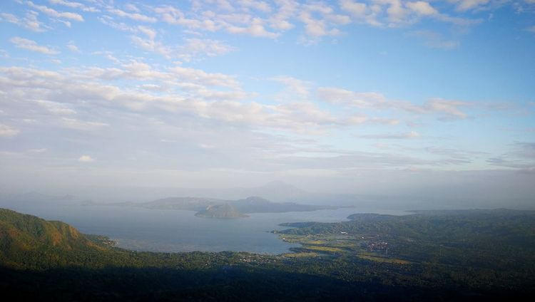 A crater within a crater. Taal volcano. Volcano Landscape Volcano Crater Volcano Taal Philippines City Cityscape Water Sea Fog Urban Skyline Nautical Vessel Horizon Over Water