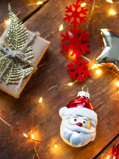 High angle view of christmas decoration