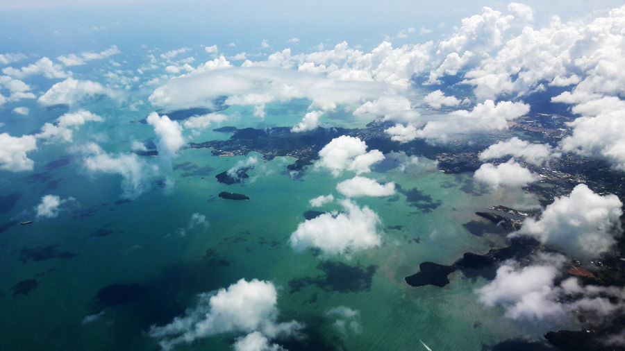 Phuket skyview Aerial View Backgrounds Beauty In Nature Blue Cloud - Sky Cloudscape Cumulus Day Environment Fluffy Idyllic Majestic Nature Non-urban Scene Ocean Scenics Sea Sky Softness The Natural World Tranquil Scene Tranquility Vibrant Color Water White Color