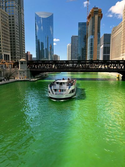 St patrick's day in Chicago Chicago Architecture Building Exterior Built Structure City Water Nautical Vessel Building Transportation Mode Of Transportation Office Building Exterior Waterfront Skyscraper Sky Day Modern Tower Urban Skyline Travel Tall - High Outdoors Cityscape Financial District  Passenger Craft Urban City Cityscape Architecture Architectural Column