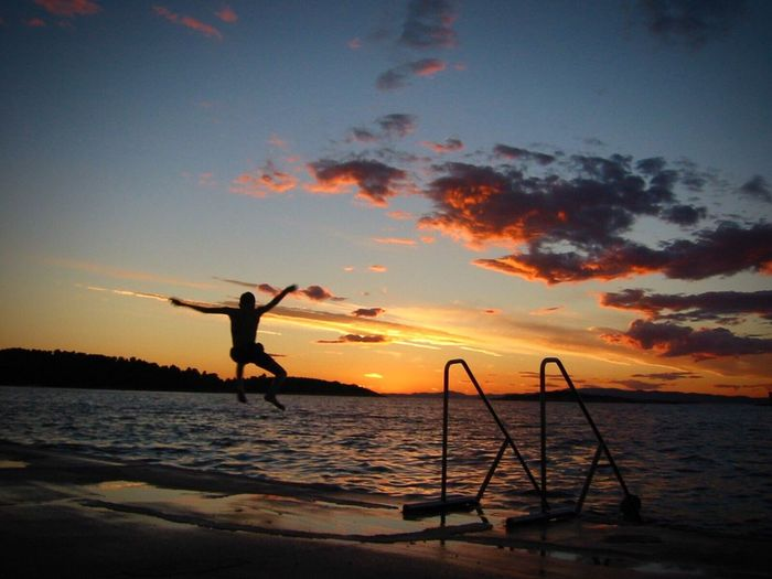 43 Golden Moments Jump Sunset Jump For Joy! Jump And Sunset See And Sunset Sunset Silhouettes Enjoying Life Croatia Hello World Outdoors Sky The Essence Of Summer #FREIHEITBERLIN A New Beginning